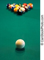 Spheres for game in a pool on a billiard table