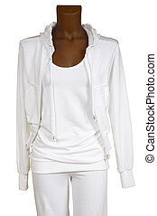 Female white tracksuit on a white background