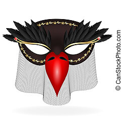 black half-mask of abstract bird - on a white background are...