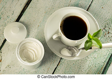 White stevia powder and coffee - White stevia natural...