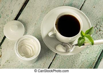 blanco, stevia, polvo, café