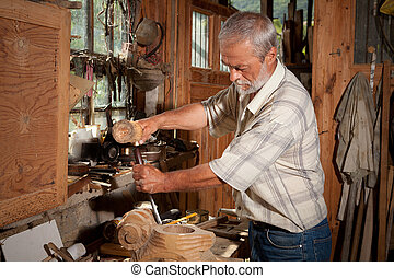 Vintage shed and carpenter - Vintage workshop and a skilled...
