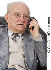 Phone reaction - Expression of a senior man using a mobile...