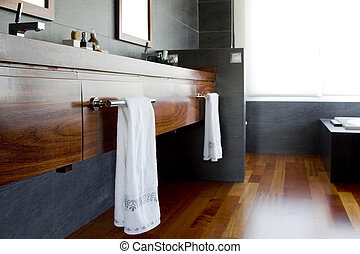 Wooden details in bathroom - Details of Towel rail as a...