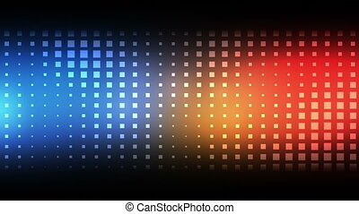 Moving blue and red squares against a black background