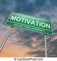 Motivation concept - Illustration depicting a green roadsign...