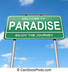 Paradise concept - Illustration depicting a green roadsign...