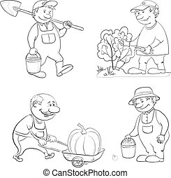 Cartoon: gardeners work, outline - Cartoon gardeners work:...