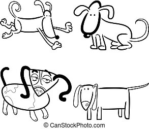 dogs or puppies for coloring - cartoon illustration of four...