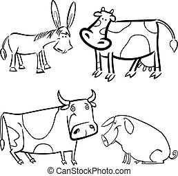 farm animals set for coloring - cartoon illustration of four...