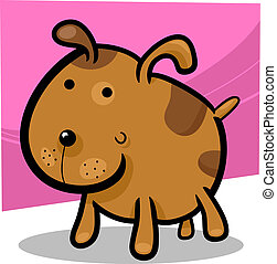 cartoon illustration of cute spotted dog