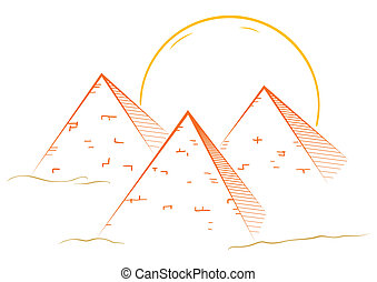 Three pyramids - Illustration of famous great pyramids in...