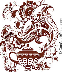 Mehndi floral teapot silhouette - Traditional indian floral...