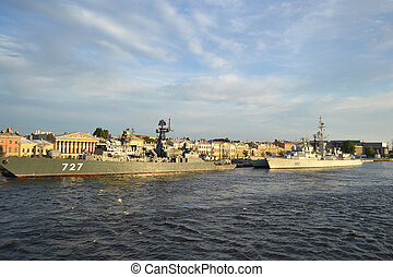 Two warships - Two warship mooring to the wharf in English...
