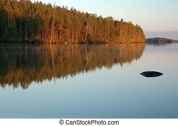 Polar Karelia landscape during white nights ,Engozero lake -...