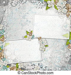 Romantic  vintage  white background with frames, flowers and text (1 of set)
