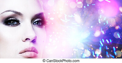 Female stylish portrait. Abstract colorful background
