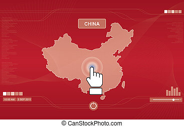 hand icon pushing china map on touchscreen, technology...
