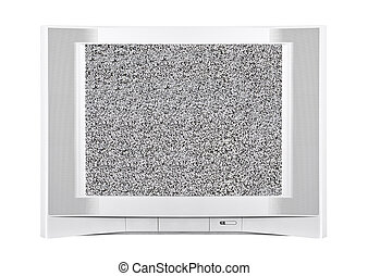 Modern Silver Television with Static Screen - Large modern...