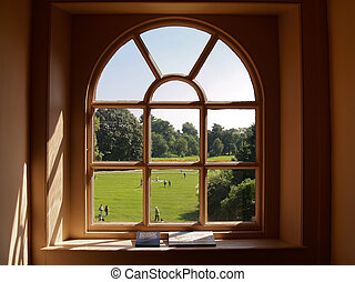 Looking out Mansion Window - Kew Gardens Mansion, England.