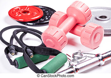Gym Equipment - Close up photograph of colorful gym...