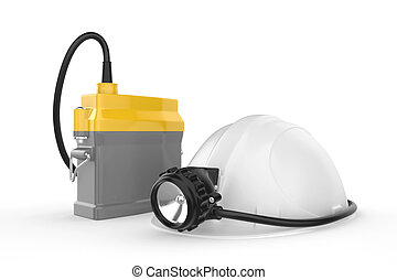Miners helmet with lamp on a white background
