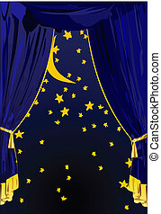 Starry Night Curtains Editable Vector Background