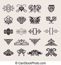 Set Of 20 One Color Ornate Design Elements
