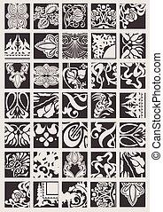 Set Of One Color Ornate Quad Design Elements