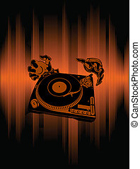 Hands Of The DJ Over Brown Background. An abstract...