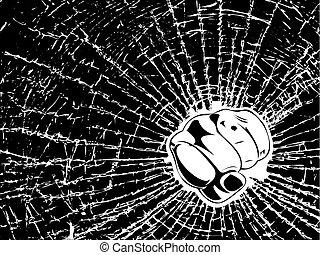 Broken Glass Fist One Color Illustration