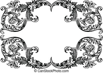 Vector Antique Vintage Frame Isolated On White For Design
