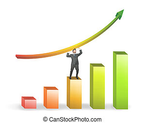 Business man and positive statistics - Success of a...