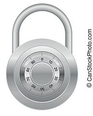 combination padlock vector illustration isolated on white...