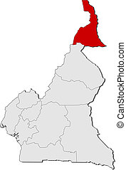 Map of Cameroon, Far North highlighted - Political map of...