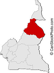 Map of Cameroon, North highlighted