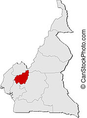 Map of Cameroon, West highlighted