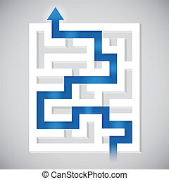 Finding a pathway maze solution concept.