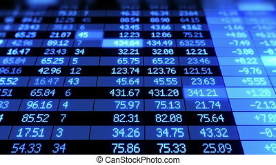 Stock Market board blue Looped - Stock Market board moving...