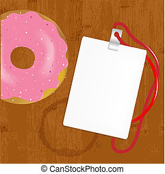 Badge With Donuts On Wooden
