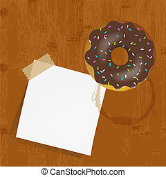 Empty Reminder With Chocolate Donuts, Vector Illustration