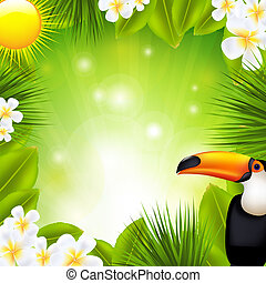 Green Background With Tropical Elements, Vector Illustration