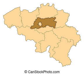 Map of Belgium, Flemish Brabant highlighted - Map of Belgium...