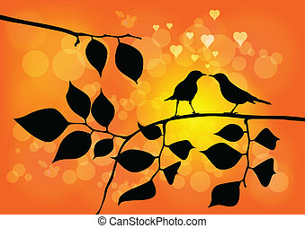 Love Birds on a Tree with Sunset in background - Vector...