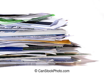 Paper stack. - A close-up of a stack of paperwork with copy...