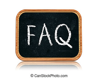 Frequently asked question - 3d blackboard banner with chalk...