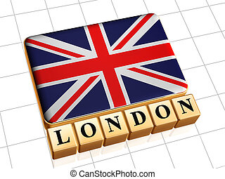 UK flag and text London - 3d golden boxes with UK flag and...
