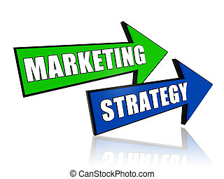 marketing strategy blue and green 3d arrows