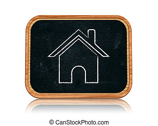 Home icon - 3d blackboard banner with chalk Home icon