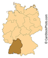 Map of Germany, Baden-Wuerttemberg highlighted - Map of...